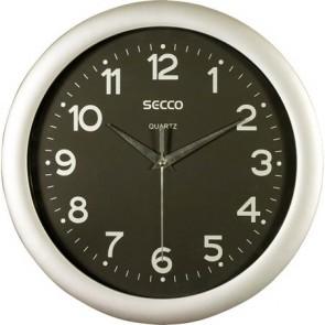 """Falióra, 28,5 cm, fekete számlap,SECCO """"Sweep Second"""", ezüst keret"""