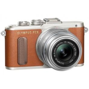 """Fényképezőgép, barna váz,  EZ-M1442EZ ezüst objektív, OLYMPUS """"E-PL8 Pancake Zoom Kit"""""""