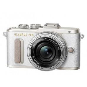 """Fényképezőgép, fehér váz, EZ-M1442EZ ezüst objektív, OLYMPUS """"E-PL8 Pancake Zoom Kit"""""""