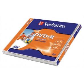 DVD-R lemez, nyomtatható, matt, ID, 4,7GB, 16x, normál tok, VERBATIM