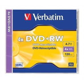 DVD+RW lemez, újraírható, 4,7GB, 4x, normál tok, VERBATIM