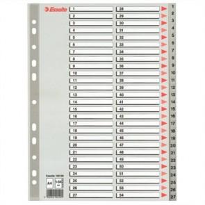 Regiszter, műanyag, A4, 1-54, ESSELTE, szürke
