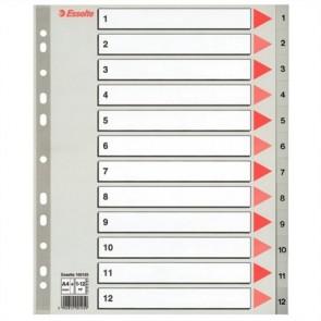 Regiszter, műanyag, A4 maxi, 1-12, ESSELTE, szürke