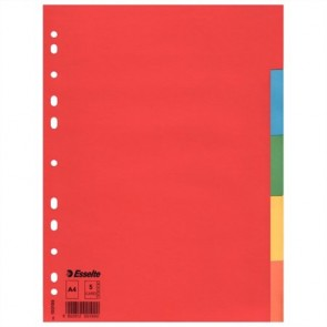 """Regiszter, karton, A4, 5 részes, ESSELTE """"Economy"""", színes"""