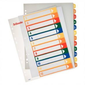 Regiszter, műanyag, A4 Maxi, 1-12, nyomtatható, ESSELTE, áttetsző