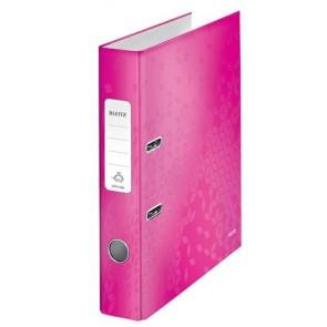 """Iratrendező, 52 mm, A4, PP/karton, lakkfényű, LEITZ """"180 Wow"""", rózsaszín"""