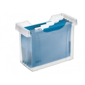 """Függőmappa tároló, műanyag, 5 db függőmappával, LEITZ """"Plus"""", áttetsző"""