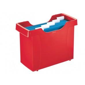 """Függőmappa tároló, műanyag, 5 db függőmappával, LEITZ """"Plus"""", piros"""