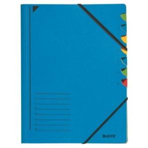 Gumis mappa, karton, A4, regiszteres, 7 részes, LEITZ, kék