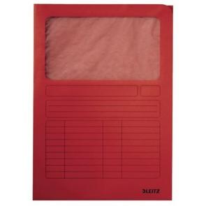 Mappa, ablakos, karton, A4, LEITZ, piros