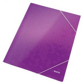 "Gumis mappa, 15 mm, karton, A4, lakkfényű, LEITZ ""Wow"", lila"
