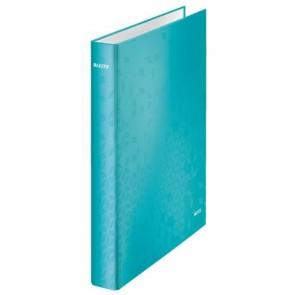 """Gyűrűs könyv, 4 gyűrű, D alakú, 40 mm, A4 Maxi, karton, lakkfényű, LEITZ """"Wow"""", jégkék"""