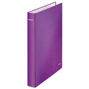 """Gyűrűs könyv, 4 gyűrű, D alakú, 40 mm, A4 Maxi, karton, lakkfényű, LEITZ """"Wow"""", lila"""