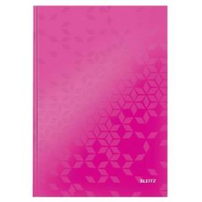"""Beíró, A4, vonalas, 80 lap, keményfedeles, lakkfényű, LEITZ """"Wow"""", rózsaszín"""