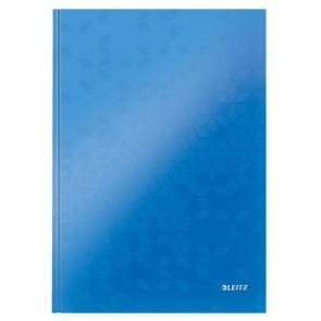 """Beíró, A4, vonalas, 80 lap, keményfedeles, lakkfényű, LEITZ """"Wow"""", kék"""
