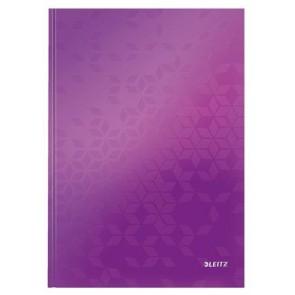 """Beíró, A4, vonalas, 80 lap, keményfedeles, lakkfényű, LEITZ """"Wow"""", lila"""