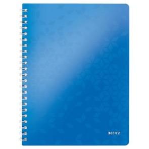"""Spirálfüzet, A4, vonalas, 80 lap, LEITZ """"Wow"""", kék"""