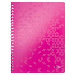 """Spirálfüzet, A4, kockás, 80 lap, LEITZ """"Wow"""", rózsaszín"""