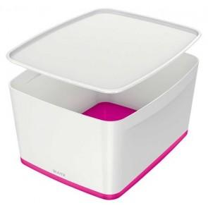 """Tároló doboz, fedővel, nagy, LEITZ """"MyBox"""", fehér-rózsaszín"""