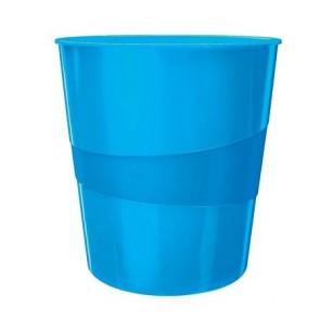 """Papírkosár, 15 liter, LEITZ """"Wow"""", metál kék"""