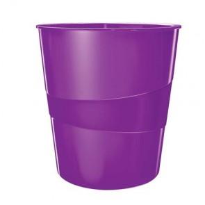 "Papírkosár, 15 liter, LEITZ ""Wow"", lila"