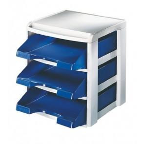 """Irattálca, műanyag, 3 fiókos, LEITZ """"Plus"""", kék"""