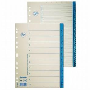 Regiszter, karton, A4, 1-12, ESSELTE, fehér