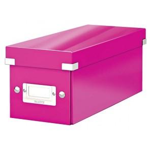 """CD tároló doboz, lakkfényű, LEITZ """"Click&Store"""", rózsaszín"""