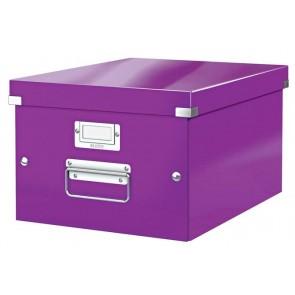 """Irattároló doboz, A4, lakkfényű, LEITZ """"Click&Store"""", lila"""