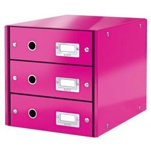 """Irattároló, laminált karton, 3 fiókos, LEITZ """"Click&Store"""", rózsaszín"""