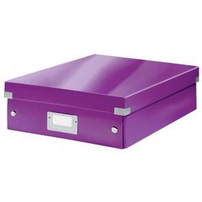 """Tárolódoboz, rendszerező, laminált karton, M méret, LEITZ """"Click&Store"""", lila"""