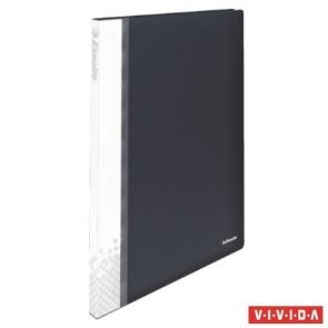 """Bemutatómappa, 20 zsebes, A4, feliratozható, kemény borító, ESSELTE """"Vivida"""", fekete"""