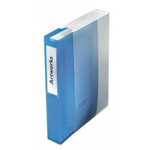 CD/DVD-mappa, műanyag, tokkal, 48 db-os, ESSELTE, áttetsző kék