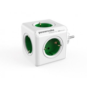 """Elosztó, 5 aljzat, ALLOCACOC """"PowerCube Original DE"""", fehér-zöld"""