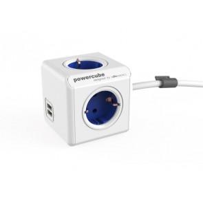 """Elosztó, 4 aljzat, 2 USB csatlakozó, 1,5 m kábelhosszúság, ALLOCACOC """"PowerCube Extended USB DE"""", fehér-kék"""