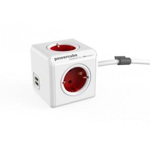 """Elosztó, 4 aljzat, 2 USB csatlakozó, 1,5 m kábelhosszúság, ALLOCACOC """"PowerCube Extended USB DE"""", fehér-piros"""