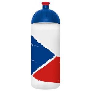 """Kulacs, higiénikus műanyagból, 0,7L, FREEWATER """"Cseh zászló"""", átlátszó"""