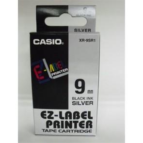 Feliratozógép szalag, 9 mm x 8 m, CASIO, ezüst-fekete