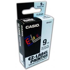 Feliratozógép szalag, 9 mm x 8 m, CASIO, víztiszta-fekete