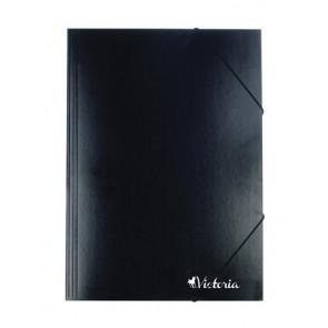 Gumis mappa, karton, A4, VICTORIA, fekete