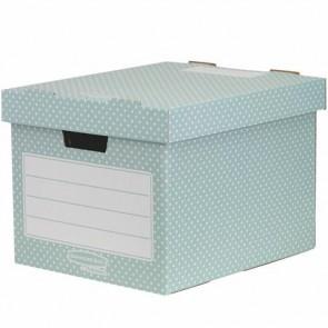 """Tároló doboz, karton, 33,3x28,5x39 cm FELLOWES, """"Style"""", zöld-fehér"""
