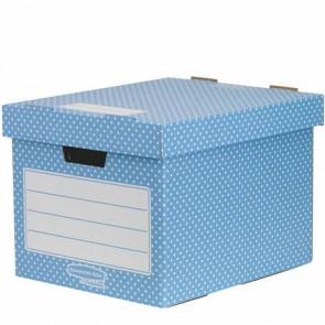 """Tároló doboz, karton, 33,3x28,5x39 cm FELLOWES, """"Style"""", kék-fehér"""