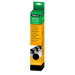 Spirál, műanyag, 16 mm, 101-120 lap, FELLOWES, 25 db, fekete