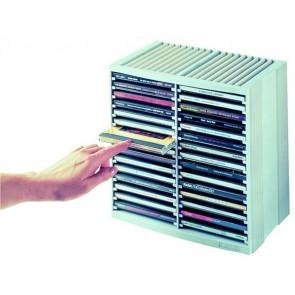 """CD-tároló, automata kiemelőrendszerű, 30+18 db-os, FELLOWES """"Spring"""", platinaszürke"""