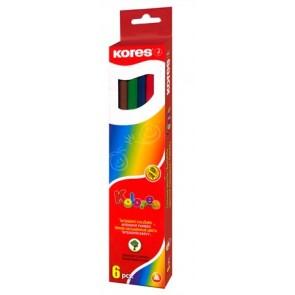 """Színes ceruza készlet, hatszögletű, KORES """"Hexagonal"""", 6 különböző szín"""