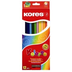 """Színes ceruza készlet, hatszögletű, KORES """"Hexagonal"""", 12 különböző szín"""