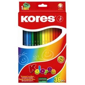 """Színes ceruza készlet, hatszögletű, KORES """"Hexagonal"""", 36 különböző szín"""