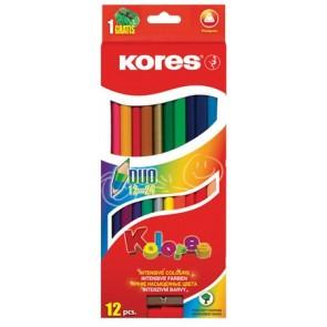 """Színes ceruza készlet, kétvégű, háromszögletű, KORES """"Duo"""", 12 különböző szín"""