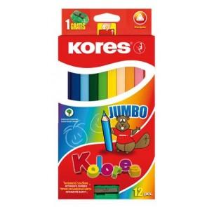 """Színes ceruza készlet, háromszögletű, vastag, KORES """"Jumbo"""", 12 különböző szín"""