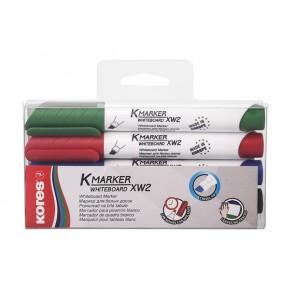 """Tábla- és flipchart marker készlet, 1-3 mm, vágott, KORES """"K-Marker"""", 4 különböző szín"""